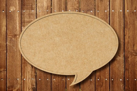 Blank Speech Bubble on wood background photo