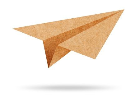 throwing paper: Recycle paper plane on white background