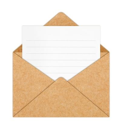 sobres de carta: Reciclar sobres de papel con el libro blanco en blanco  Foto de archivo