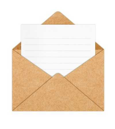 space to write: Recycle Paper envelope with Blank White Paper  Stock Photo