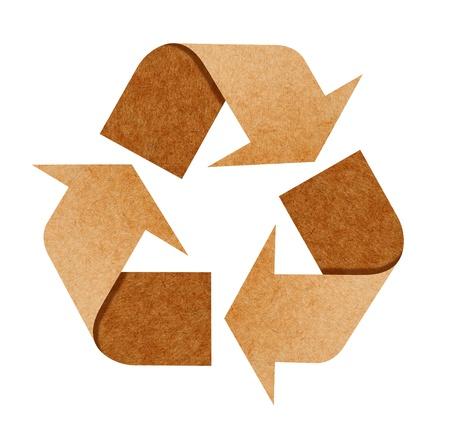 reciclar basura: Reciclar el logotipo de reciclar papel con trazado de recorte