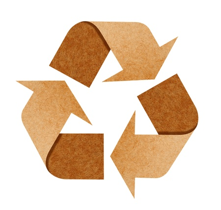 recycling paper: Recycle Logo From Recycle Paper with Clipping Path