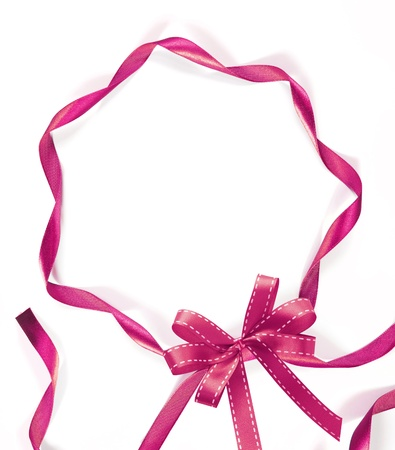 shimmery: pink ribbon on white background with copy space
