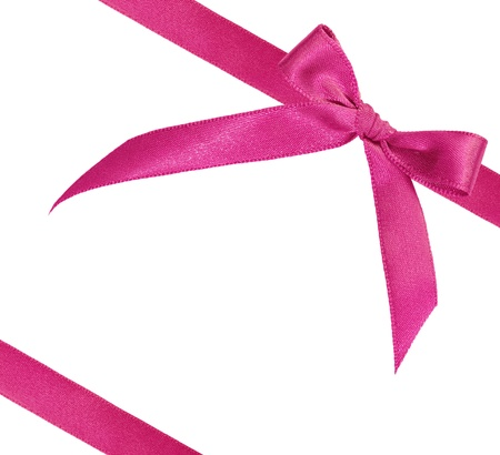 pink ribbon on white background with copy space