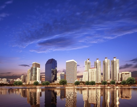 Urban City Skyline in the morning with space