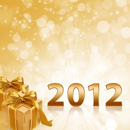 Year 2012 with abstract gold sparkling background and gold gift boxes