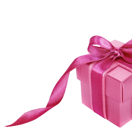 Pink gift box on white  background with copy space