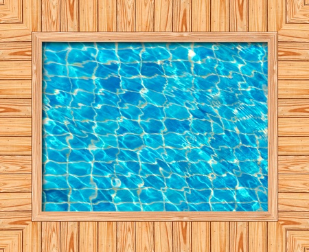 Wooden frame of the blue swimming pool Stok Fotoğraf