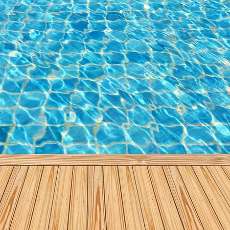 beside: Wooden floor beside the blue swimming pool