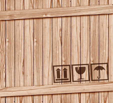 fragile: Safety fragile icon on wooden box with space  Stock Photo