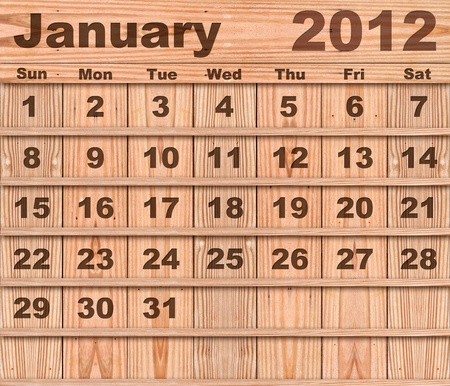 Wood calendar Set of Year 2012 January photo