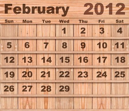 Wood calendar Set of Year 2012 February photo