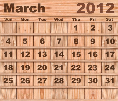 Wood calendar Set of Year 2012 March photo
