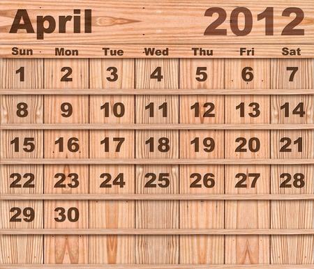 Wood calendar Set of Year 2012 April photo