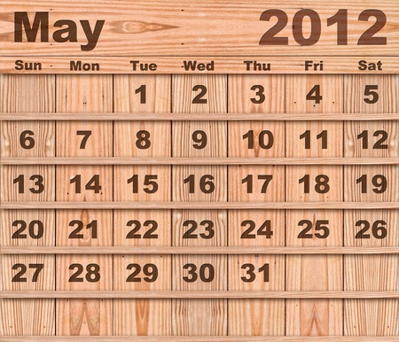 Wood calendar Set of Year 2012 May