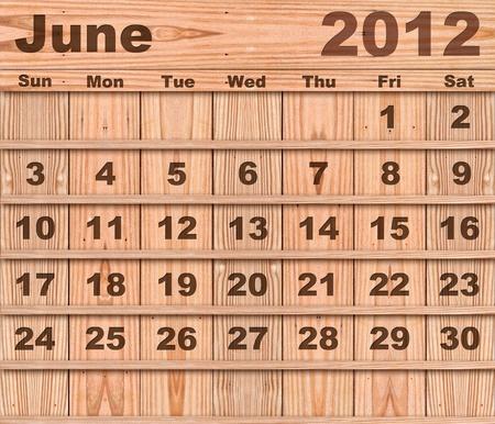 Wood calendar Set of Year 2012 June photo
