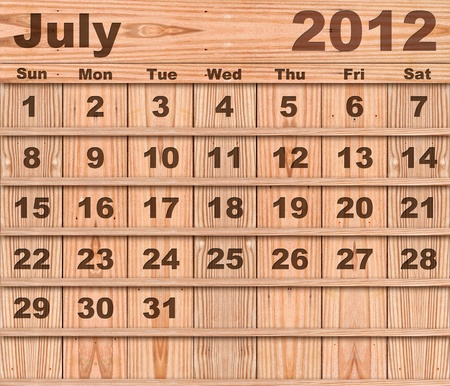 Wood calendar Set of Year 2012 July photo