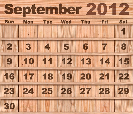 Wood calendar Set of Year 2012 September photo