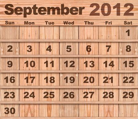 Wood calendar Set of Year 2012 September photo