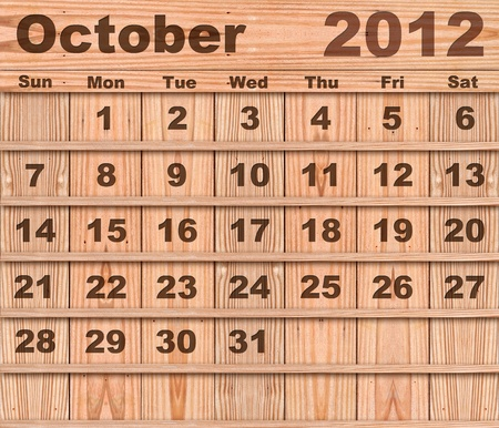 Wood calendar Set of Year 2012 October photo
