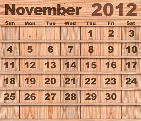 Wood calendar Set of Year 2012 November photo