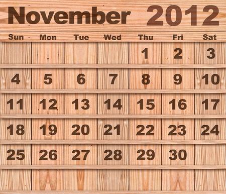 Wood calendar Set of Year 2012 November photo