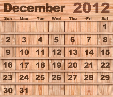 Wood calendar Set of Year 2012 December photo