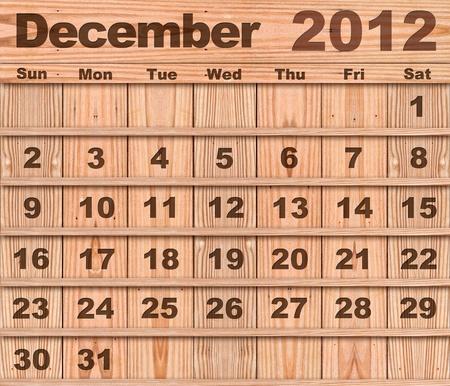 Wood calendar Set of Year 2012 December photo