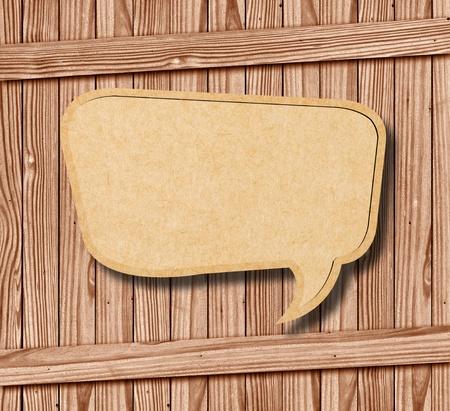 free backgrounds: Blank Speech Bubble on wood background