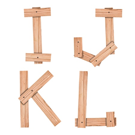 alphabet Letter I,J,K,L from wood board with clipping path Stock fotó