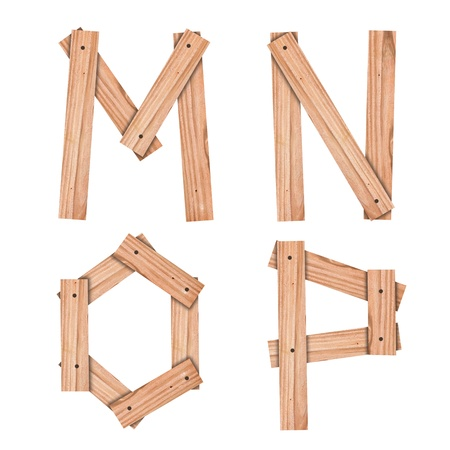 alphabet Letter M,N,O,P from wood board with clipping path Stock Photo - 10785657