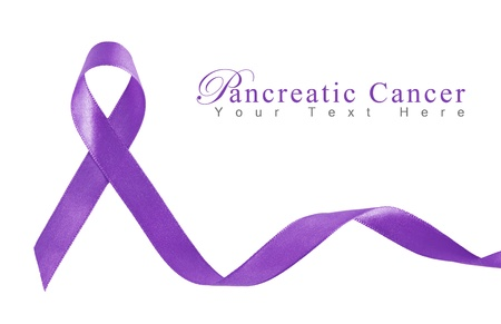 Purple Ribbon a Symbol of Pancreatic Cancer with copy space