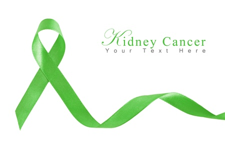 Kelly Green Ribbon for Kidney Cancer with copy space
