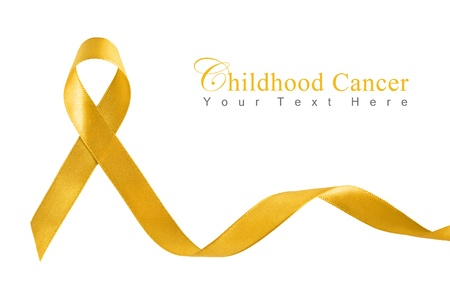 Gold Ribbon for Childhood Cancer with copy space