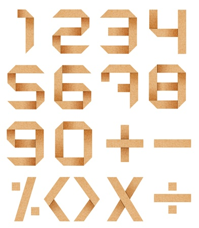 arabic numerals from zero to nine from Origami cardboard paper with clipping path photo
