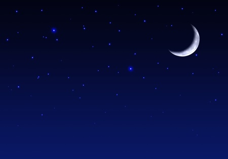 Beautiful Night sky with moon and stars Stock Photo - 10891330
