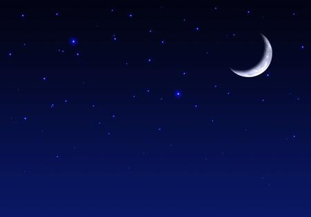 cielo estrellado: Bello cielo nocturno con la luna y las estrellas