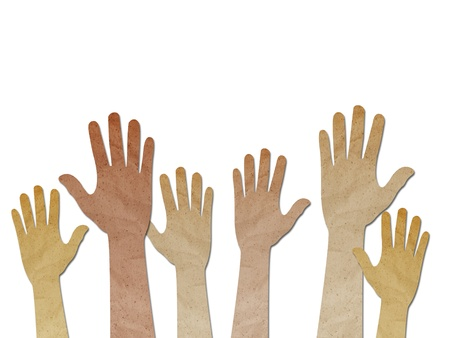 recycled paper craft ,Human Hands raised up on white background