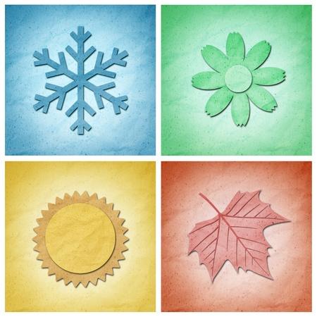 quatre saisons: Recycler du papier kraft, quatre �l�ments saisons