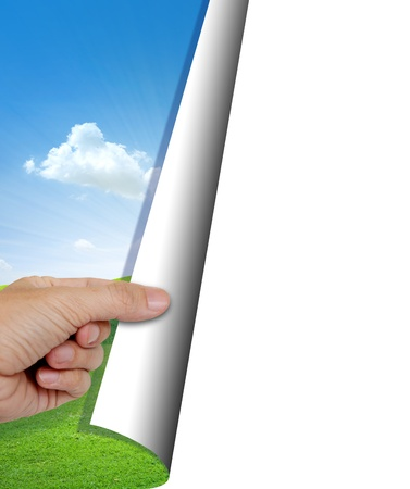 human hand opening nature background with copy space  Standard-Bild