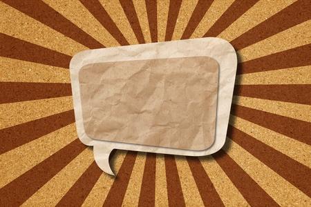 Speech bubble on Corkboard background photo