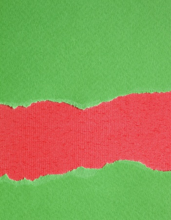Green and Red Torn paper background photo