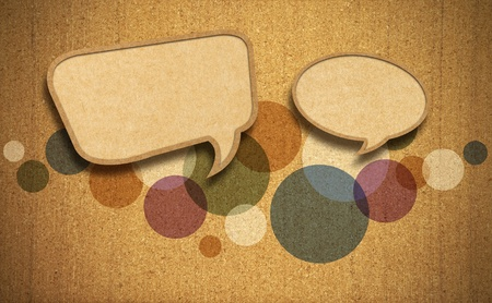 Speech bubble on Corkboard background photo