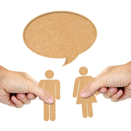 urine: paper human male and female with speech bubble