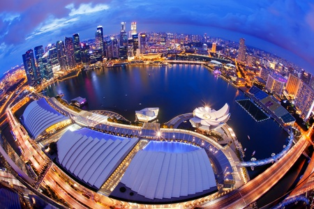 marina bay: Singapore Skyline at Night