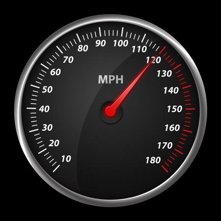 Modern auto speed meter on black