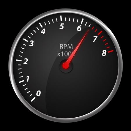 fuel gauge: Modern auto speed meter on black