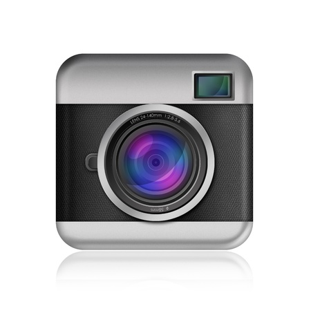 dslr camera: retro camera icon on white background
