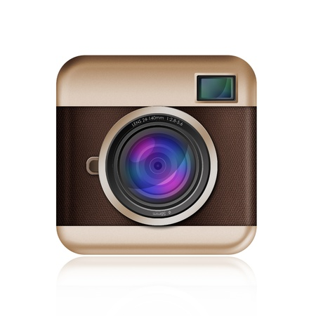 retro camera icon on white background
