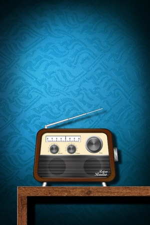 Retro radio on wood table with blue wallpaper background photo